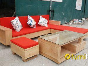 bàn ghế sofa gỗ sồi góc đẹp hiện đại