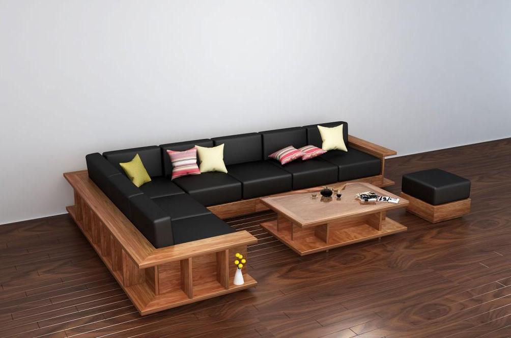 Sofa gỗ dạng góc nệm da sang trọng