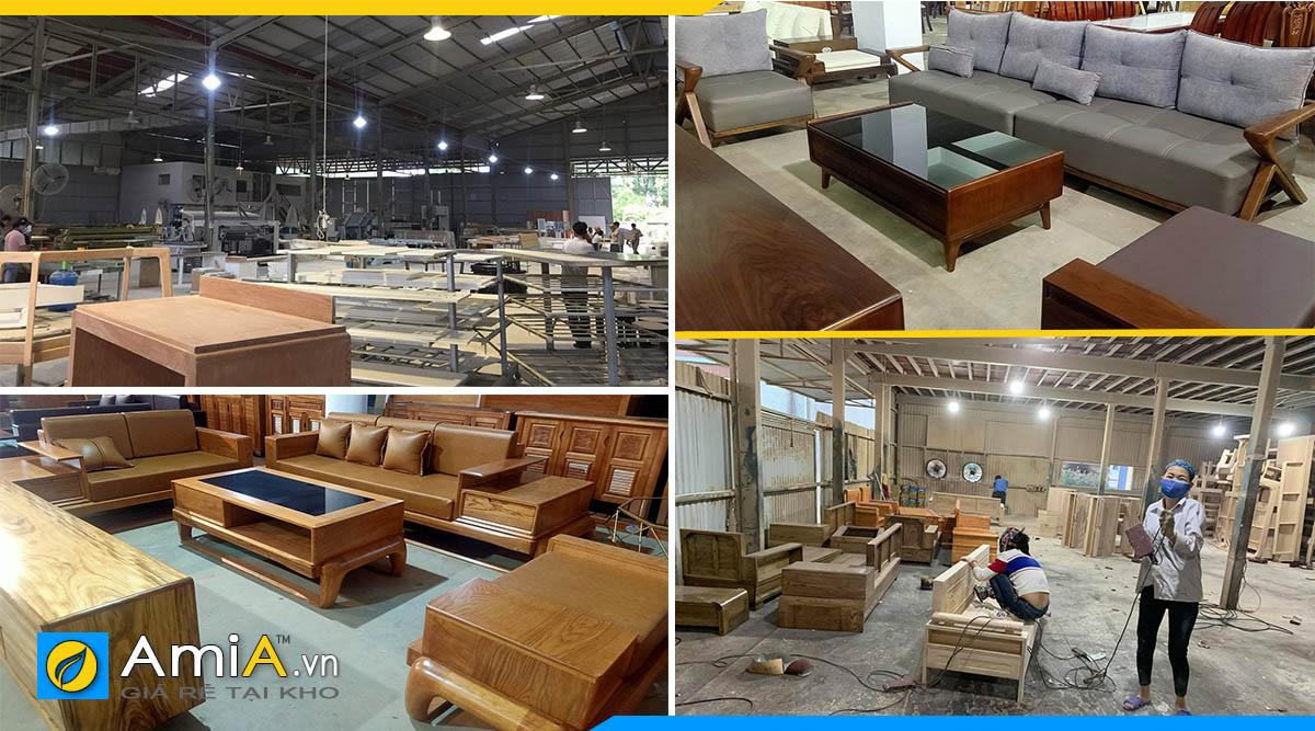Hình ảnh kho trưng bày và xưởng sản xuất sofa góc gỗ với nhiều trang thiết bị máy móc hiện đại
