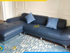 Ghế sofa da màu xanh góc chữ L đẹp hiện đại AmiA346